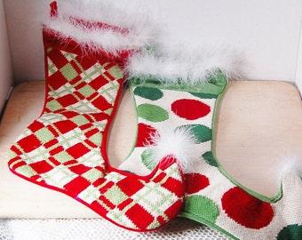 Needlepoint Christmas Stockings Elf Velvet
