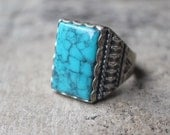1970's Men's Ring / Fuax Turquoise RING / Southwest Men's Jewelry / Vintage Sterling Ring