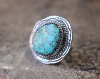 Navajo Turquoise RING / Bold Single Stone Ring / Vintage Sterling Stamped Southwest Jewelry / Size 6