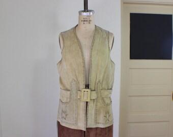 Eagle Leather VEST / 1970's Tan Suede Outerwear / Vintage Boho Belted Vest