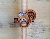 Little Squirrel on Alligator Clip - Animal Clip - Embroidered Felt - Hair Clip