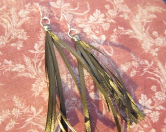 Long Brown Tassel Wire Wrapped Earrings TCJG