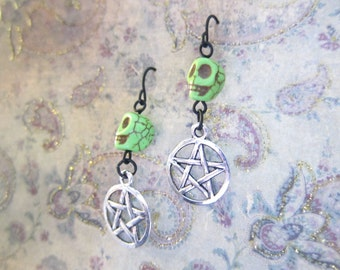 Lime Green Skull Pentagram Earrings TCJG