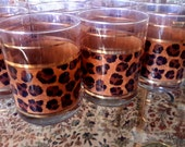 Vintage CULVER BARWARE Glasses Leopard Print Design Set of 11 Double Old Fashioned HiBall Glass Made In Usa