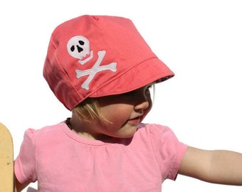 SALE*** Girls Punk Hat, Skull and Crossbones Hat, Wee Dee Organic Pink Pirate Hat, Reversible Spring Hat, Girls Hat, XL