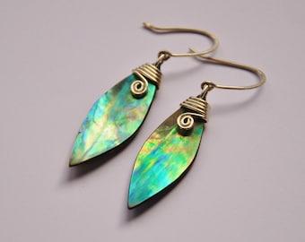 New Zealand Paua Shell & sterling silver koru earrings