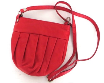 Vintage Cross Body Bag, Red Leather Bag, Small Red Vintage Bag, French Vintage Bag