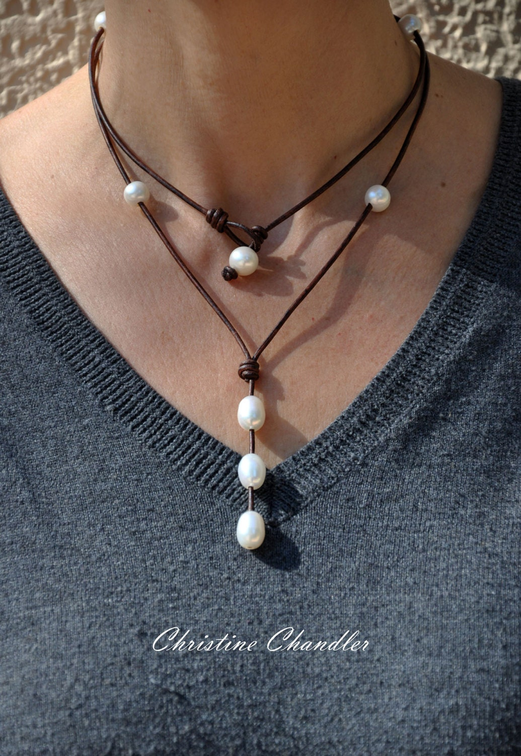Leather and Pearl Necklace Long or Short Leather Necklace