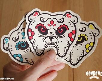 Set 3 Stickers Bulldog Skull  Colors Pack - Bulldog Day of the Dead sticker - Bulldog Dia de los muertos by Ganbatte Team