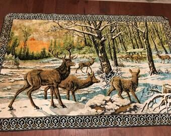 LARGE Velvet Rug stag elk deer tapestry  vintage