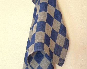 Linen Dish Towels Checked Checkered Natural Gray Blue Tea Towels set of 2