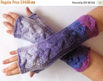 Fingerless Gloves Purple Pink Arm Warmers Knit Soft