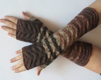 Fingerless Gloves Brown Beige wrist warmers