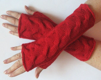 """Red fingerless gloves 10"""" arm warmers mittens Acrylic Wool"""