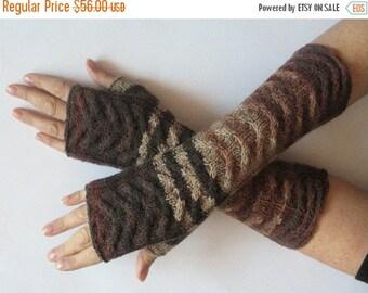 Fingerless Gloves Brown Beige wrist warmers