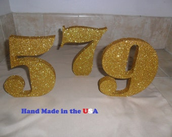 """Glittered Table Number - set 1-25 - 6"""" number - wood table number - wedding number - big numbers - wooden table number"""