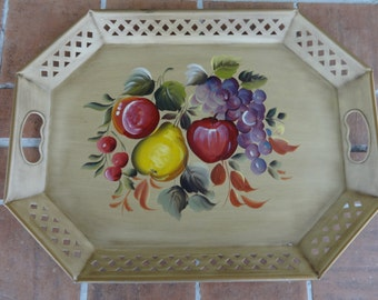 """Vintage tray toleware Nashco hand painted fruit 20"""" x 15"""" decorative arts kitsch"""