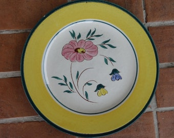 """vintage stangl pottery plate flora 10"""" flowers 1940's dinnerware floral"""