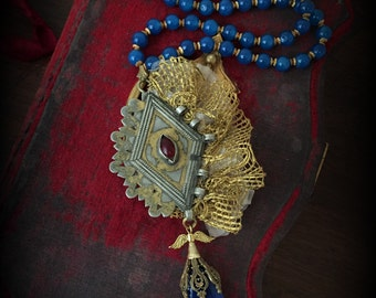 Tribal Statement Necklace with Blue Agate Beads Gilded Turkoman Pendant and Antique Lace  Tribal Assemblage Necklace Ethnic Tribal Jewelry