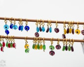 Mixed Colors Evil Eye Stitch Markers - set of 6 - in gold