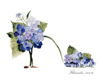 Shoe Print SHIPS FREE - Hydrangea Blue and Sage Flower Shoe 2016 - Enhanced with Watercolor paint & signed.