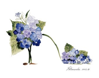 Hydrangea Blue and Sage Flower Shoe Print 2016 - Enhanced with Watercolor paint & signed.