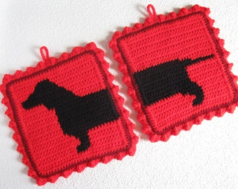 Dachshund Dog Pot Holders.  Red crochet potholders with a wiener dog. Sausage dog decor
