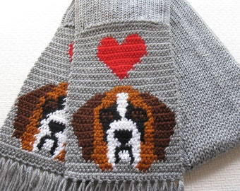 St Bernard Scarf. Gray, knit scarf with Saint Bernard and red hearts. Knit dog scarf.