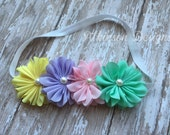 Pastel SPRING AND EASTER Infant/Toddler Headband-Yellow/Purple/Pink and Mint Turquoise- Newborn-Infant-Toddler-Photo Prop
