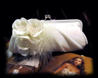 Wedding clutch, Bridal clutch, bridal evening bag, bridal evening bag,pearl clutch, feather clutch, White clutch