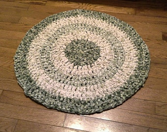 Eco Friendly, Upcycled Round Rag Rug, Olive Green, 26 Inch Across