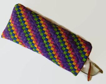 Purple and Multi Color Check Print Eyeglass Case Sunglasses Holder