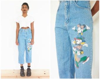 90s Stonewash Denim Disney Print Jeans / 26/27 Waist