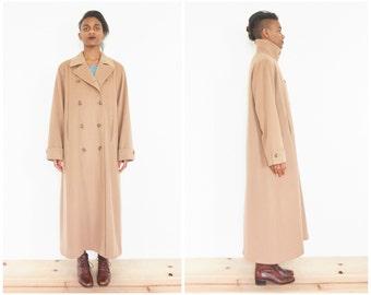 90s Calvin Klein Camel Brown Wool Overcoat / Long Coat