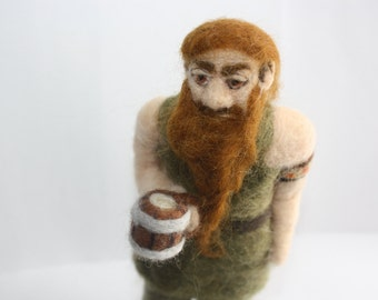 Drinking dwarf soft sculpture needle felted