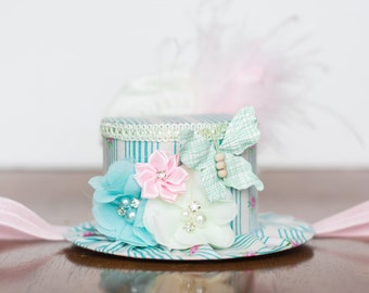 Mini Top Hat  Alice in Wonderland  - Photo Prop - Birthday Top Hat - Summer Hat - Butterfly Birthday