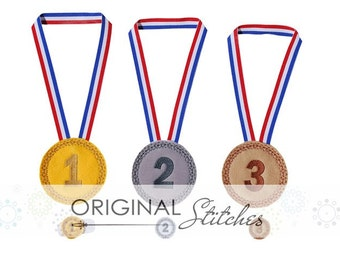 Felt Medal and Feltie Digitized Digital Design File Gold, Silver, Bronze Play Set
