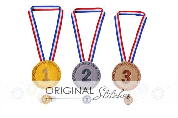 Felt Medal and Feltie Digitized Digital Design File Gold, Silver, Bronze Play Set