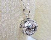 16mm Bali Harmony Ball (aka Mexican Bola) Sterling Silver Pendant Necklace ZZ75
