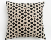 Hip Deer Pillow / Hipster Pillow / Deer Glasses Pillow / Geek Chic / Linen Pillow / Throw Pillow / Black Polka Dot Pillow