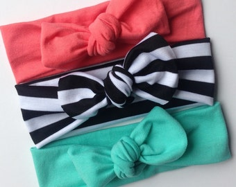 Jersey knit baby knotted headband- set of THREE - aqua/coralblack amd white striped