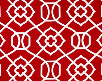 Two 20 x 20  Custom Designer Decorative Pillow Covers for Indoor/Outdoor -  Geometric Trellis -  Red White