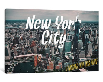 iCanvas New York Love Gallery Wrapped Canvas Art Print by 5by5collective