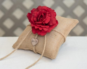 Red Rose ring bearer pillow. Customize with flower and  bride and groom initials