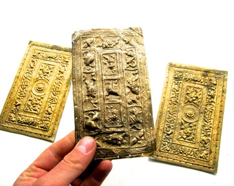 3 x Antique Ornate Metal Book Covers