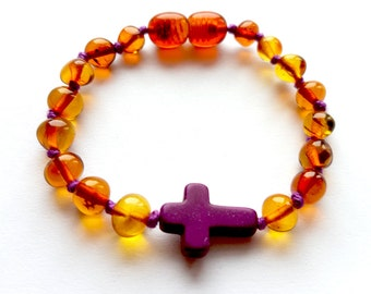 NATURAL BALTIC AMBER Teething Baltic Amber Bracelet or Anklet for Baby or Child with Purple Cross