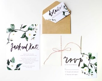 Printable Wedding Invitation Template, Floral Watercolor, Custom Calligraphy, DIY Modern Invitation, Brush Lettering