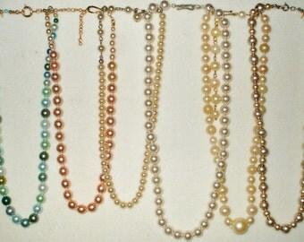 6 Vintage Single Strand Glass Pearl necklace, 1 signed Deltah, & 1 Japan