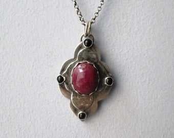 Pink Ruby and Black Onyx Mehndi Yoga Pendant in Sterling Silver Necklace Jewelry