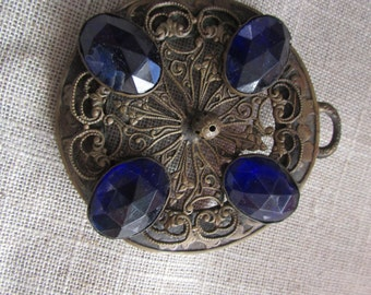Huge - Vintage Brass Medallion - Pendant with large Cobalt Blue Gemstones, stone,